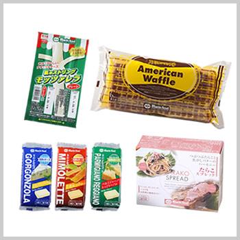 研究部おすすめセット(たらこスプレッド、ストリングチーズ、ベビーチーズ3種(ミモレット、パルミジャーノ・レッジャーノ、ゴルゴンゾーラ)、アメリカンワッフル)