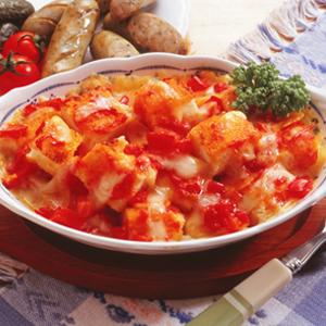 パンとトマトのチーズ焼き