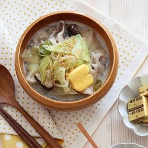 燻製バターのっけ。豚キャベツのゴマ味噌スープ