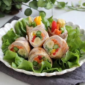 カラフル野菜とチーズの肉巻き