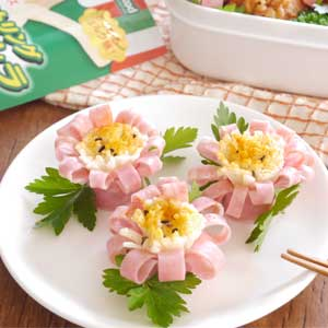 ストリングモッツァレラとハムのお花