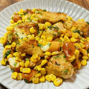鶏とスモークチーズの炒め物